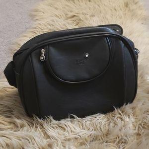 Mont Blanc Travel Tote Black Leather Shoulder Bag